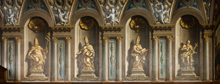 Trompe l'oeil painting of statues of the four Doctors of the Church on the north wall of the Chapel at Wimpole Hall, Cambridgeshire. The Chapel interior was created in the 1720s and decorated by Sir James Thornhill.