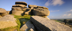 The granite outcrops of Rough Tor, Bodmin Moor, North Cornwall.