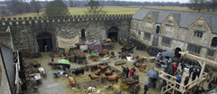 "Courtyard of Knole, made to look like a market, during the filming of ""Burke and Hare"" at Knole, Kent."