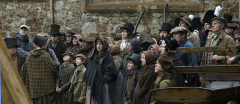 "Crowd scene gather during the filming of ""Burke and Hare"" at Knole, Kent."