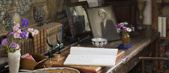 Close view of the desk in the Writing Room in the Tower at Sissinghurst.