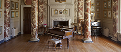 Piano from the Cobbe collection in the Music Room at Hatchlands Park, Surrey.